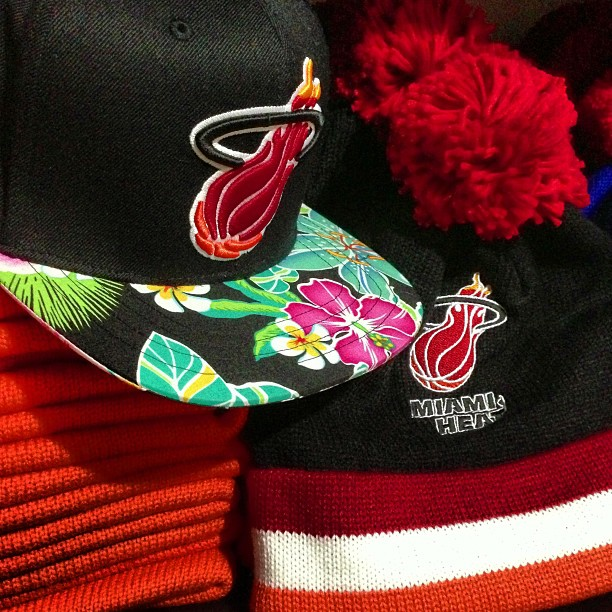 Miami Heat Custom Brim Strapback Hat : Miami Heat Beanies