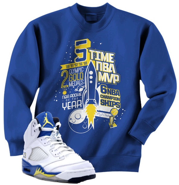 Crewneck Shirts to match with the Jordan Retro 5 Laney Shoes