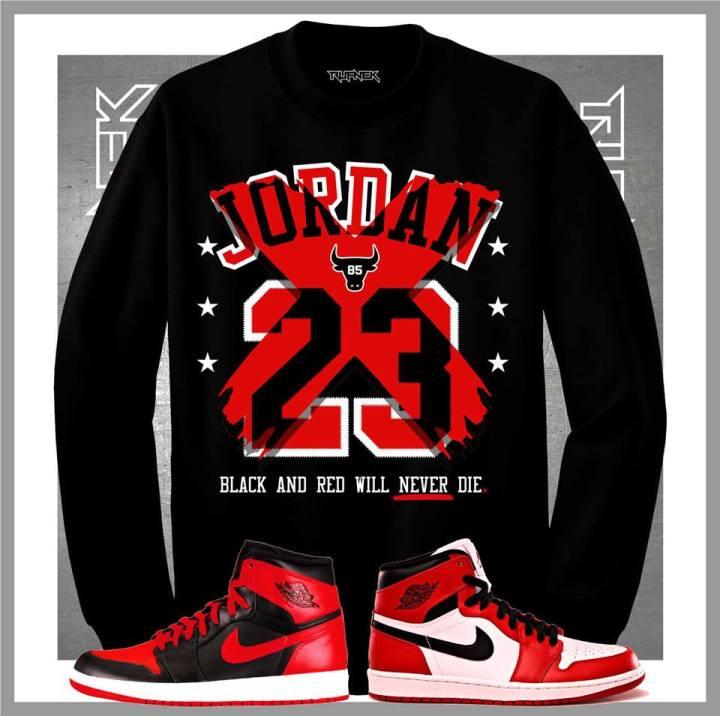 5bedcaa6bb2 Jordan Retro 1 Banned Sneaker Crewneck by Original Rufnek Clothing ...