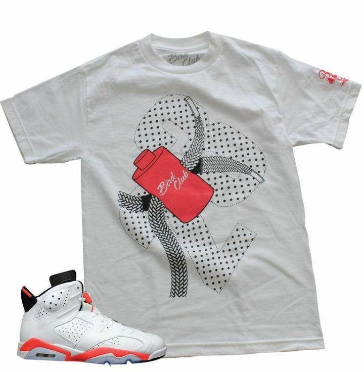 Jordan Retro 6 Infrared Shoes Bird Club Clothing Sneaker T-Shirt