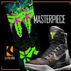 Just Sockz Custom Nike Elite socks to Match Kobe 9 Masterpiece shoes