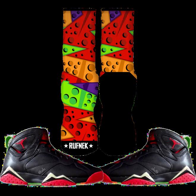 70474f30ea59f6 Jordan Marvin the Martian 7s Custom Socks ...