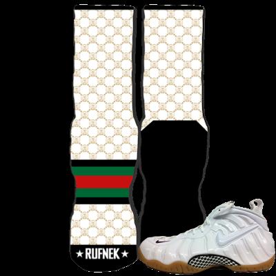 Custom Socks White Gucci Foams