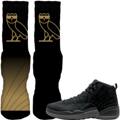 match-jordan-12-black-ovo-custom-sneaker-socks